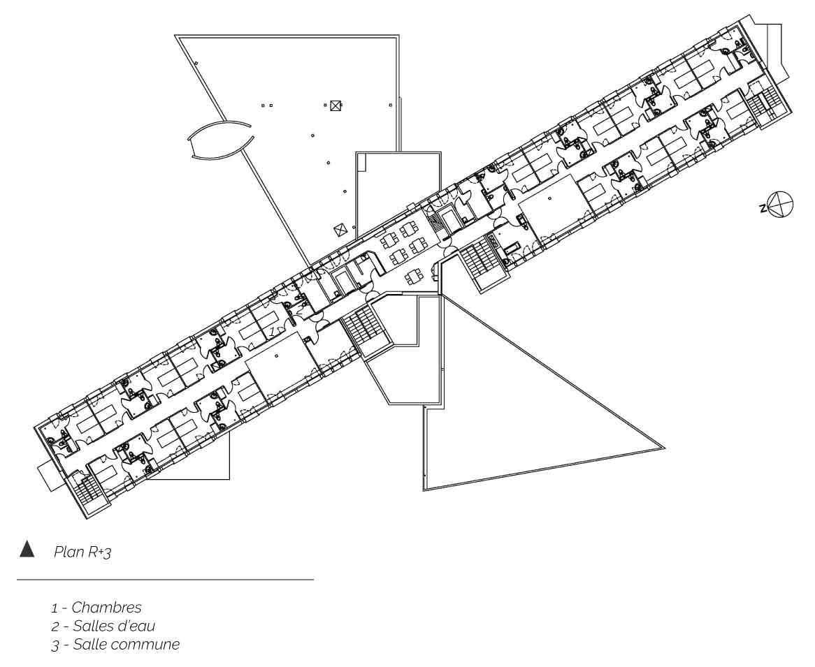plan troisieme étage Etablissement MRS Le Cendre Gonin Architectes