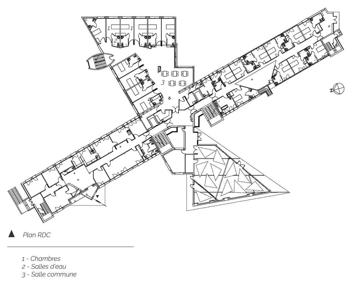 plan rez de chaussée Etablissement MRS Le Cendre Gonin Architectes