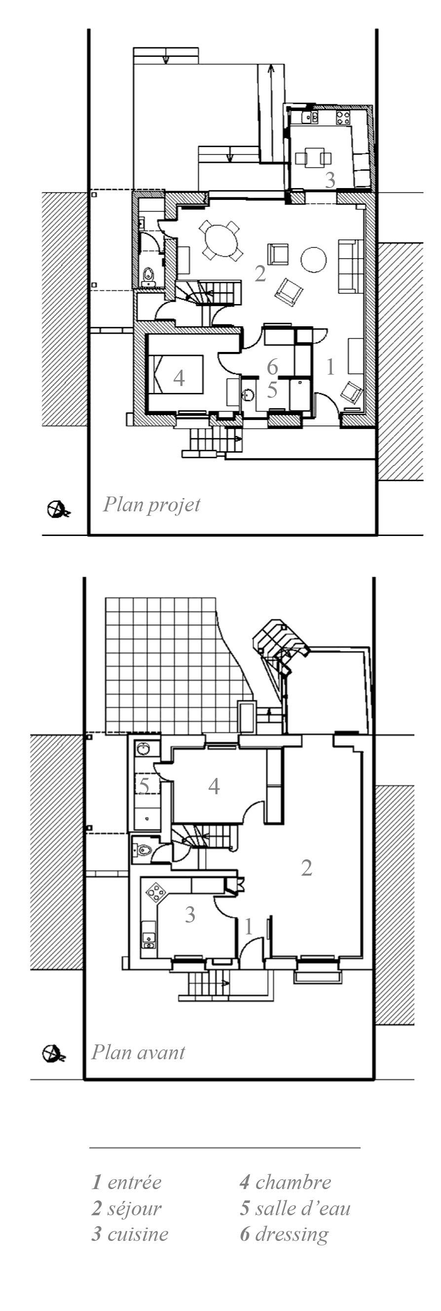 Plan de la maison avant après