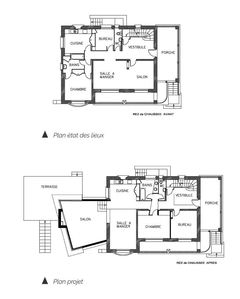 Plan de l'Extension de la maison BES Aubière